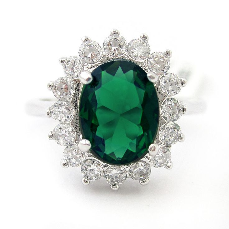 4.5ct Oval Cut Kate Middleton Style Emerald & Diamonds Engagement Ring EMR103