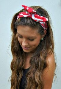 Casual hairstyle for festivals, weekends, for long brown hair with headband.