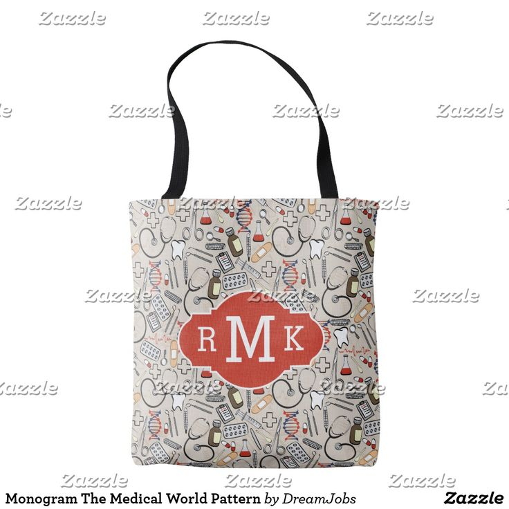 Monogram The Medical World Pattern. Producto disponible en tienda Zazzle. Accesorios, moda. Product available in Zazzle store. Fashion Accessories. Regalos, Gifts. #bolso #bag