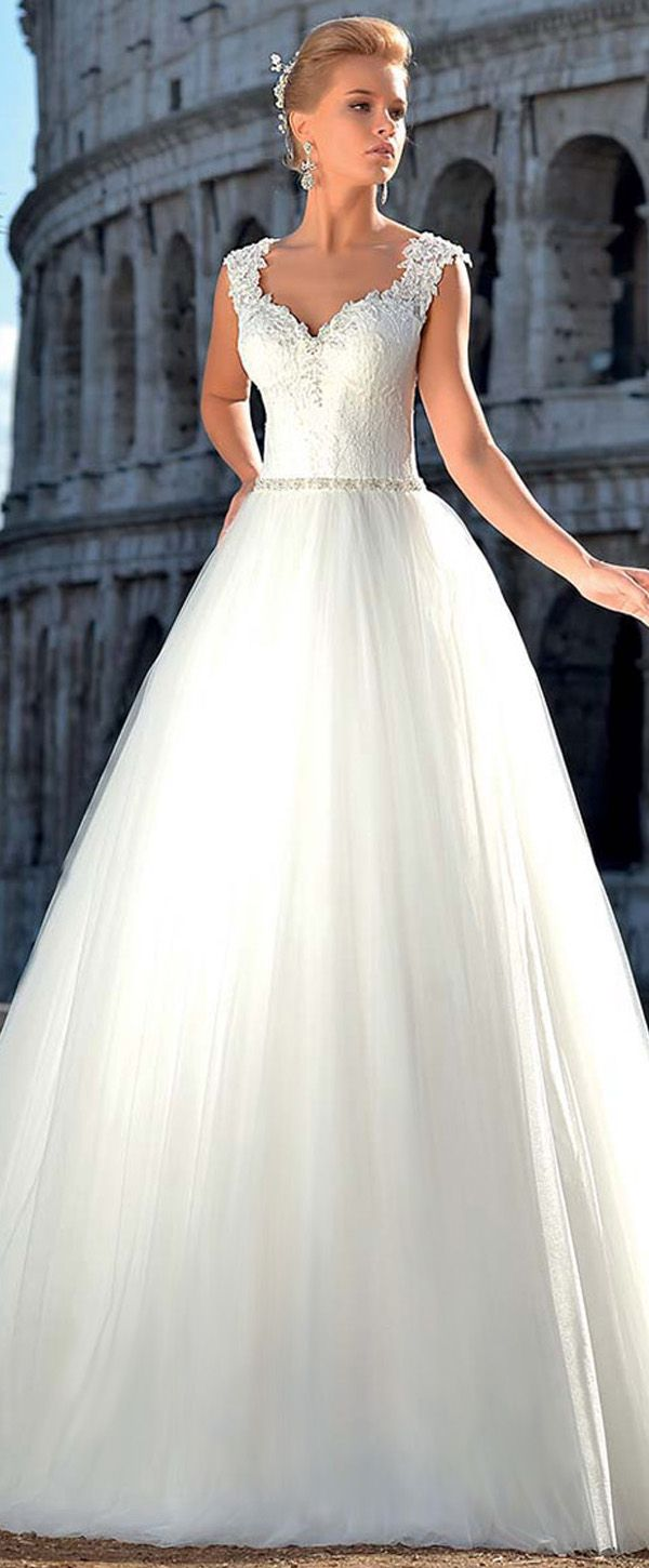 Junoesque Tulle V-neck Neckline Natural Waistline A-line Wedding Dress With Lace Appliques & Beadings