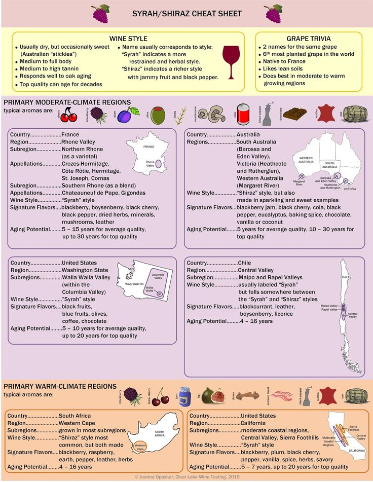 Clear Lake Wine Tasting: Wine Infographic: Syrah/Shiraz Wine Cheat Sheet