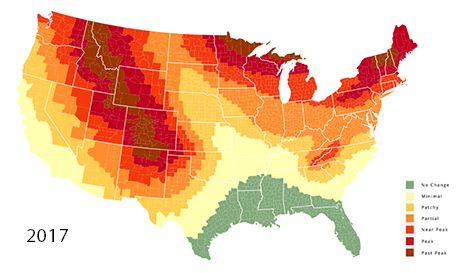 When is the best time to see the Fall colors? This Fall foliage map tells the peak time to see when the leaves are changing all across the United States.