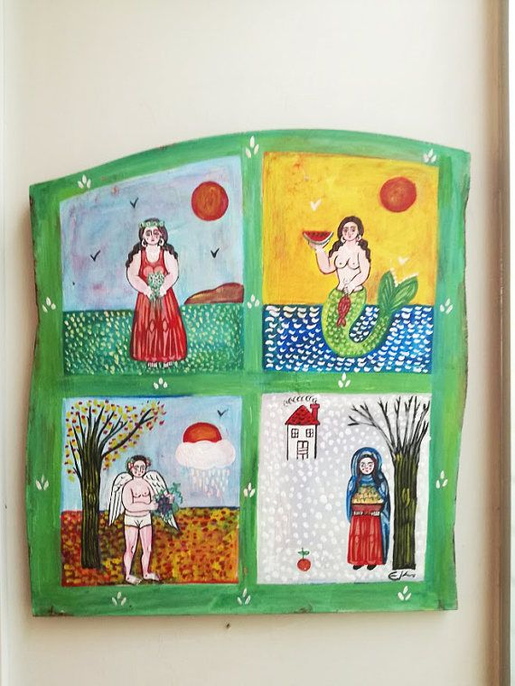Four seasons painting large folk art painting on wood Greek