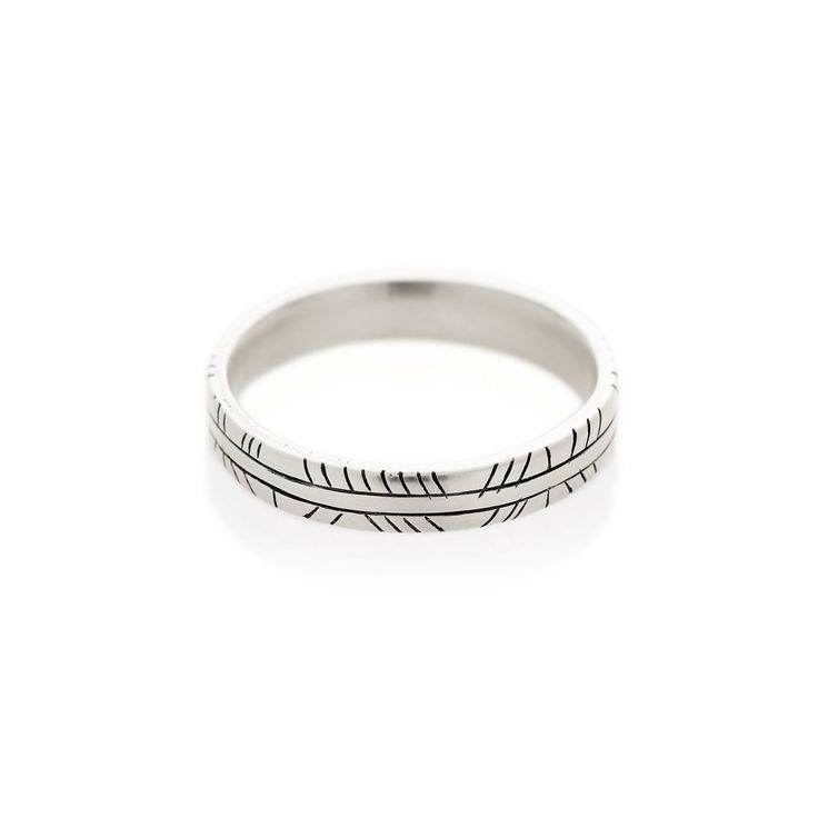 A 3.5 mm square profile men's band with diagonal hand etched detail | Dear Rae | Online shop