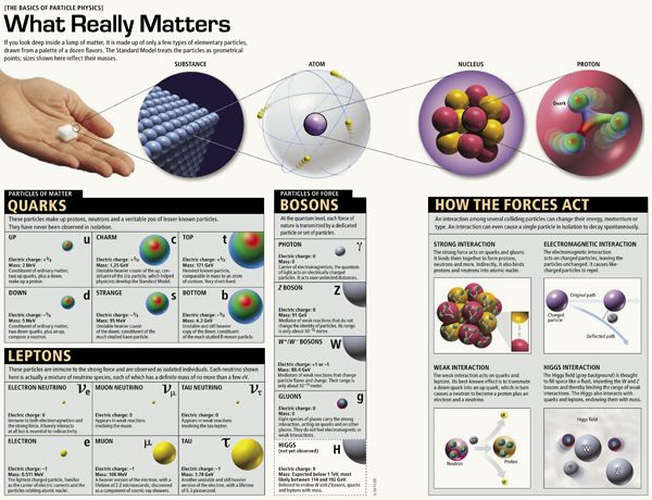 Subatomic Particles Over Time: Graphics from the Archive, 1952-2015   Scientific American   In the May issue of Scientific American, a familiar friend makes an appearance: a chart of fundamental particles. These particles—fermions (which include constituents of matter such as electrons and quarks) and bosons (usually carriers of force)—are at the very heart of the Standard Model of particle physics. #Science