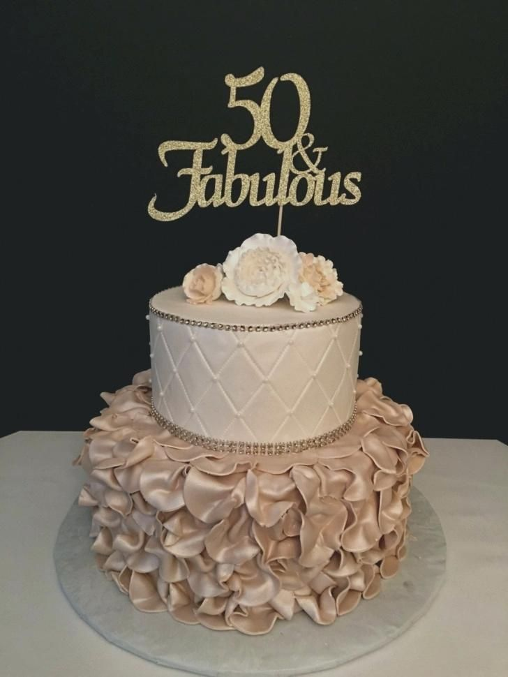 50th Birthday Cake For Women 40th Topper Elegant