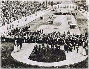 1896: The opening ceremony in the Panathinaiko Stadium