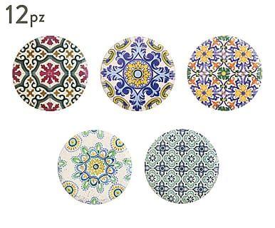 Set di 12 sottobicchieri in ceramica Deruta
