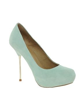 ASOS PAPARAZZI Leather Court Shoes With Metal Spike Heel