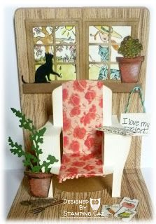 Caz Counsell has so many awesome details in this Chair Pop 'n Cuts card. A STAMPING & CHIRPING Corner: In my Garden shed