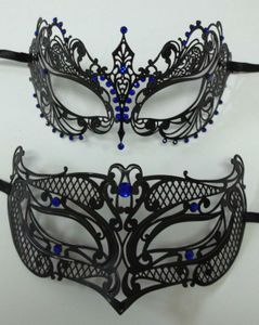 Couples Male Female Black Blue Laser Cut Venetian Masquerade Metal Mask Jewels