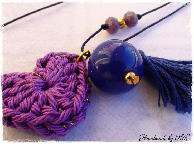 Crochet heart necklace...handmade by KR!!!