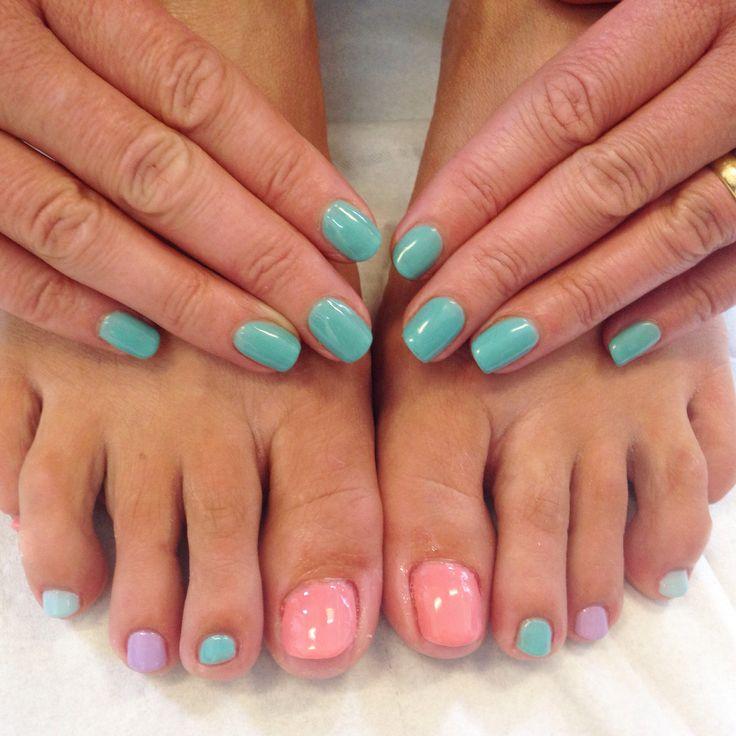 Calgel nails #colourful #summer #calgel #manicure #pedicure www.fresh-skincare.co.uk