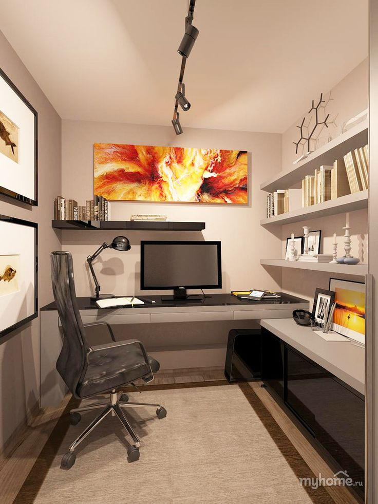 Nice small home office - practical setup Kind of how my office is set up,  just not as organized. home office ideas, home office design