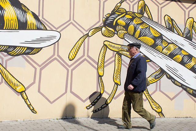 Un vecino de Quadraro pasando delante de los graffitis del proyecto MURo, ¿le gustarán?