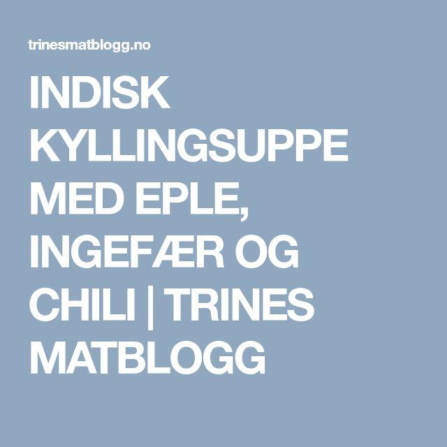 INDISK KYLLINGSUPPE MED EPLE, INGEFÆR OG CHILI | TRINES MATBLOGG