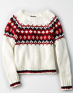 AE FAIRISLE CHUNKY KNIT SWEATER  Size: XXS  Color: Cream