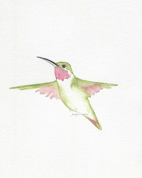 Watercolor Hummingbird Original Ruby Throated Hummingbird