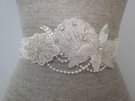 Beach wedding silver Beaded & Rhinestone Organza sash / belt, seashell, starfish, pearl sash on Etsy, $90.00