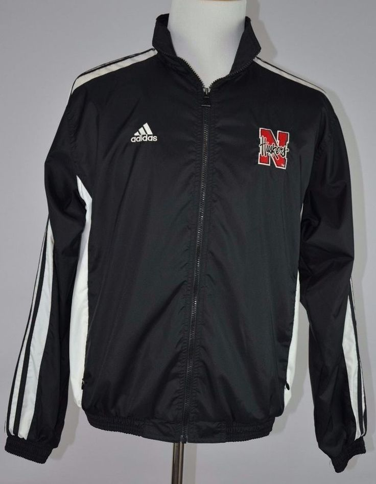 Addidas Men's Nebraska Huskers Medium (M) Black White Jacket Excellent Condition #adidas #BasicJacket