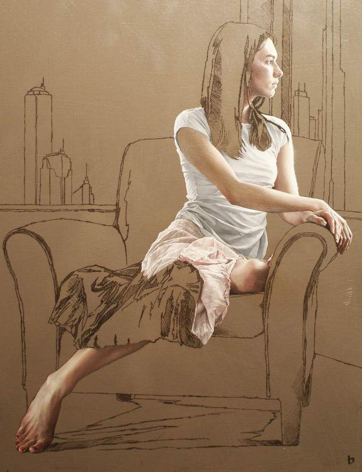 Bryan Larsen - process painting the seersucker skirt  found on bryanlarsen.com