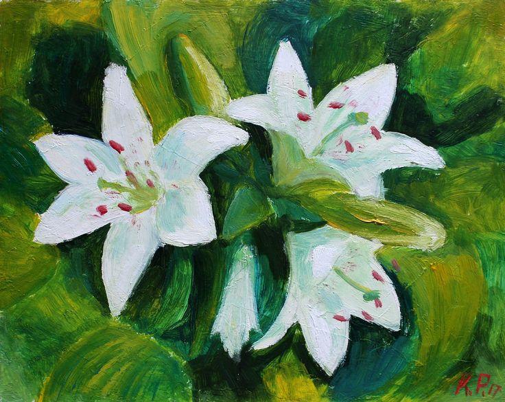 🍃 Белые Лилии 🍃   (Грунтованный оргалит, масло. Размеры 24*30)
