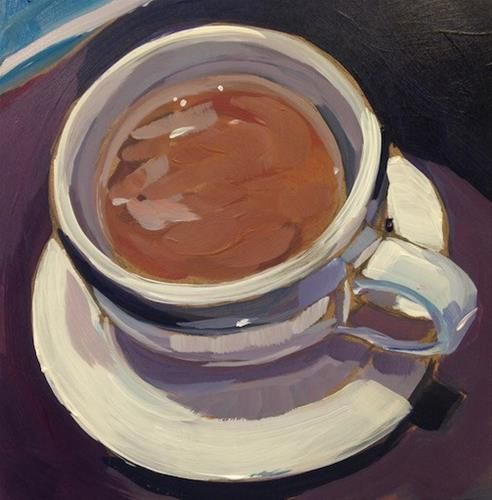 """Daily Paintworks - """"Coffee from Cafe Maude"""" - Original Fine Art for Sale - © Kat Corrigan"""