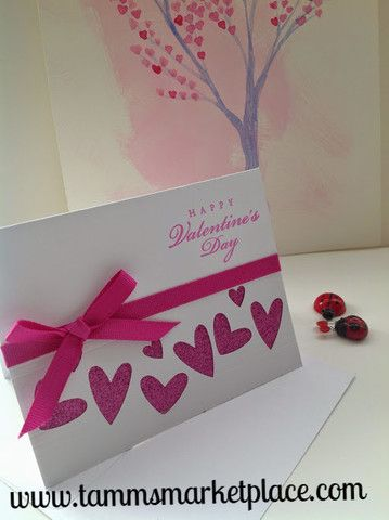 Happy Valentine's Day Card with Pink Hearts and Ribbon – Tamm's Marketplace