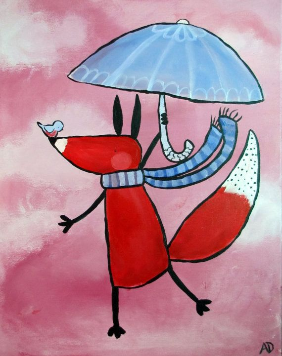 Cute Fox with Umbrella Painting/Artwork by andralynn on Etsy. Beautiful Woodland Themed Art for Nursery or Children's Room