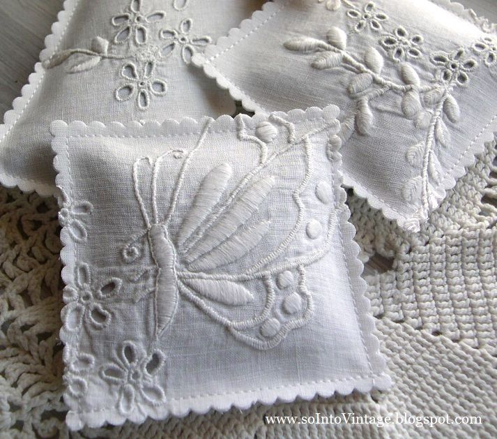 Into Vintage: Sew there ... Use the good parts of old linens to make lavender sachets.