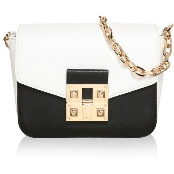 LIU JO Tracollina Piccola Crossover Bag Black/White in white, black,... ($93) ❤ liked on Polyvore featuring bags, handbags, shoulder bags, white, white shoulder handbags, black white purse, white purse, black and white handbags and black and white purse