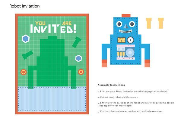 Dags för fest? Då har du här några roliga och fina festinbjudningar! Två populära teman, eller vad sägs om ett rymd och rakettema. Om inte det passar så finns det ett med robot tema.