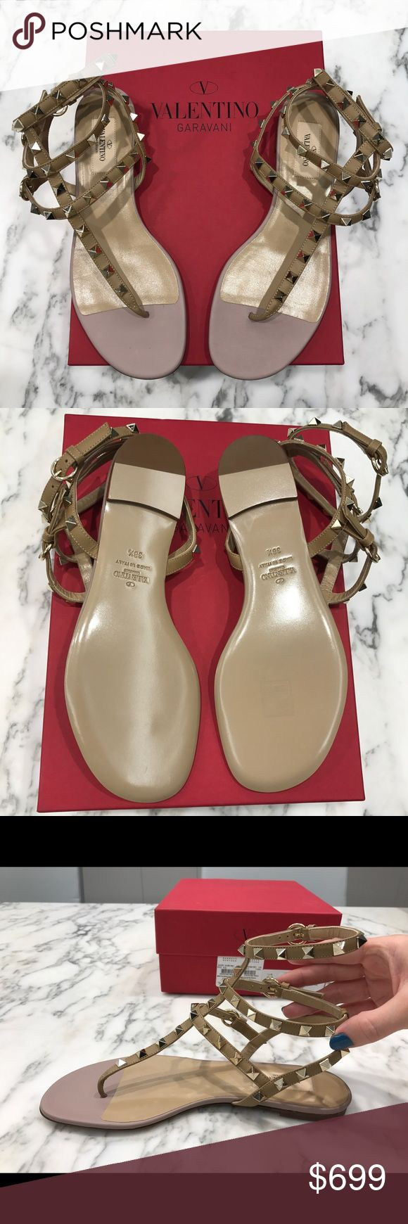 Valentino Rockstud Gladiator - Flat Thong - Alpaca These are brand new in box, never been worn, authentic Valentino Rockstud Flat Thong Gladiators in Alpaca. They are so beautiful but the size (38.5) is just a bit too small for me.  I bought them to attend a wedding in California last year and soon after found out I was pregnant. Just before the wedding I tried the shoe on in my apartment (on carpet) to make sure they would work with the dress i was wearing and they no longer fit. I hope…