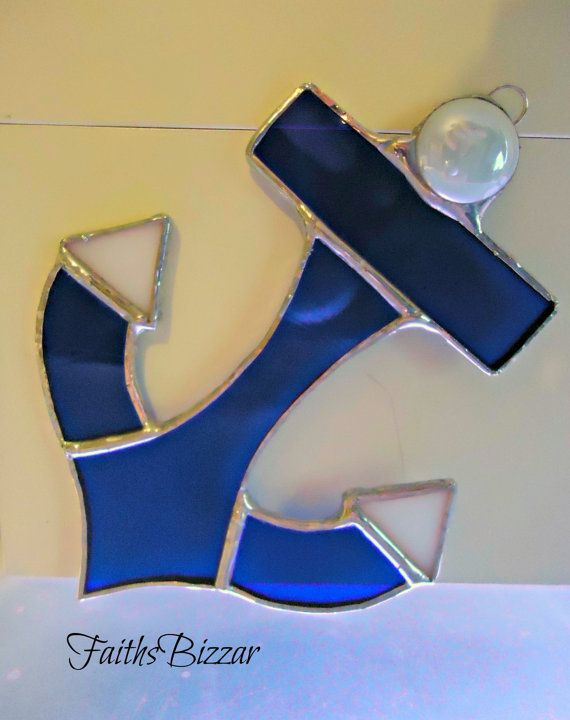 Stained Glass Ship Anchor window or wall by FaithsBizzar on Etsy, $15.00