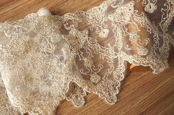 gold scalloped lace fabric trim by lacetime on Etsy