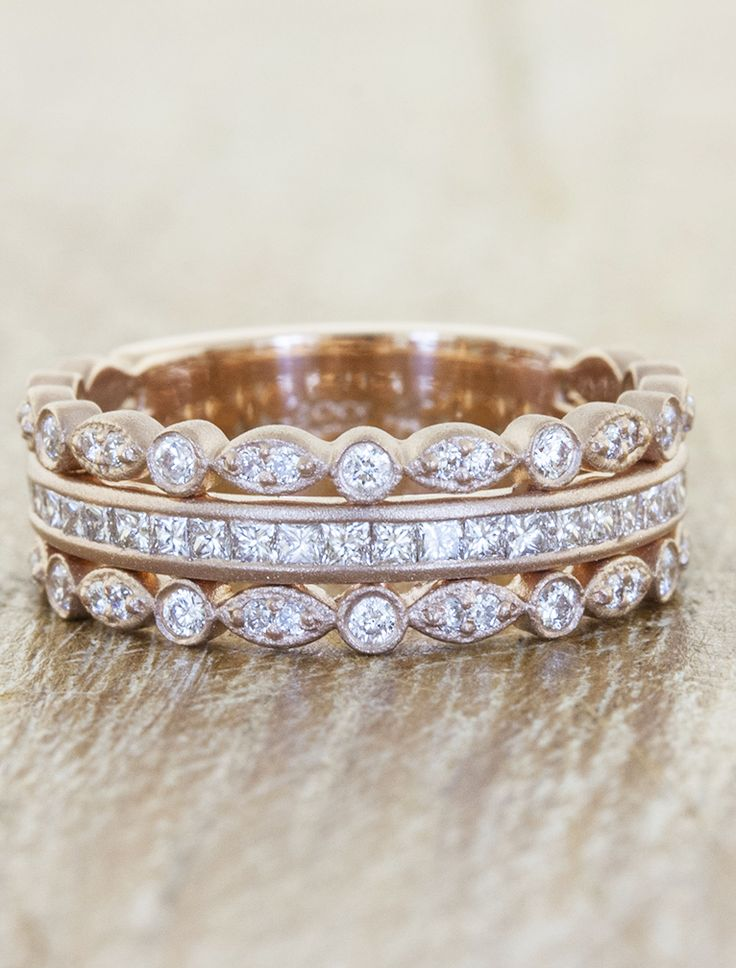 Unique Rose Gold wedding band that is vintage inspired by Ken & Dana Design