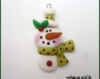 Polymer Clay Winter Snowman in Green Charm - Polymer Clay Snowman Green Red Polka dot Pendant - Snowman with Scarf Bow Center Focal