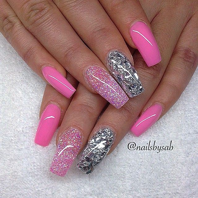 Pink and glitter coffin nails