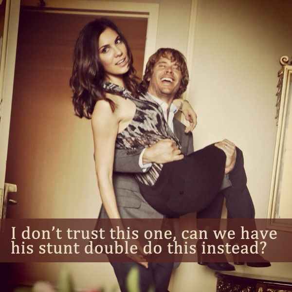 Deeks stunt double is his brother and is Kensi' husband- family affair! Awks but true