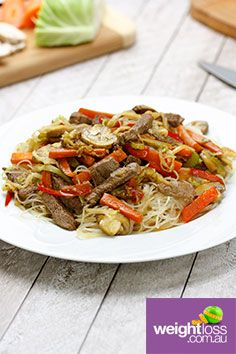 Beef & Mushroom Vermicelli. #HealthyRecipes #DietRecipes #WeightLossRecipes weightloss.com.au