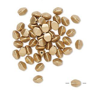 Бусины, компании preciosa, чешское прессованное стекло, матовое матовое золото, 5x4mm гречка с 0,7 мм отверстие. Продается за пакет из 50.