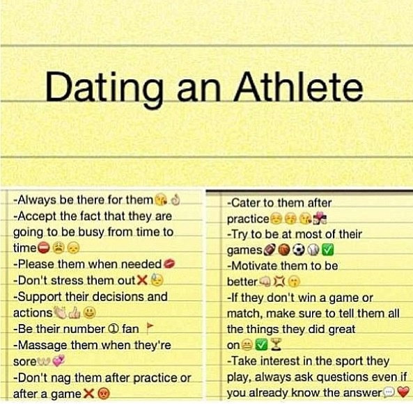 Dating an athlete is hard
