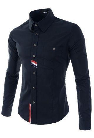 Camisa Social / Casual Slim Fit Moderna - Detalles a Rayas - en Azul, Blanco y Negro