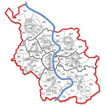 Stadtbezirke und Stadtteile von Köln mit der offiziellen Nummerierung