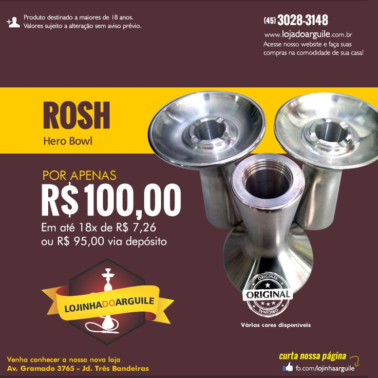 Queimador Hero Bowl  POR APENAS R$ 100,00 Em até 18x de R$ 7,26 ou R$ 95,00 via depósito Compre Online: http://www.lojadoarguile.com.br/queimador-hero-bowl