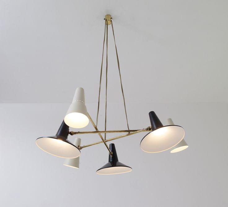 Bruno Gatta; #242 Brass and Enameled Metal Ceiling Light for Stilnovo, c1955.