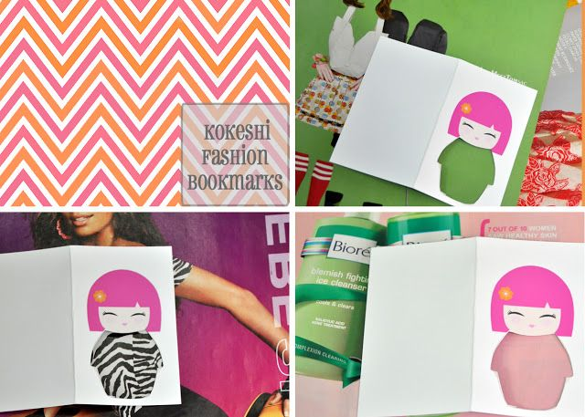 The Phenomenal Mama: DIY: Kokeshi Fashion Bookmarks for a crafternoon party