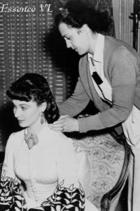 gone with the wind behind the scenes photos: touching up the wig