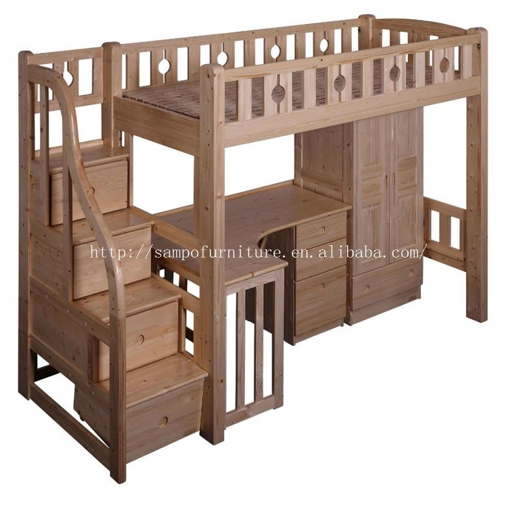 Loft bed with stairs woodworking projects plans for Bunk bed woodworking plans