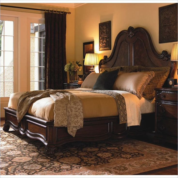 Lexington Palos Verdes Grande Salon Bed in Deep Russet Brown Finish.I love  this bedroom set and the warm cozy look of this bedroom.